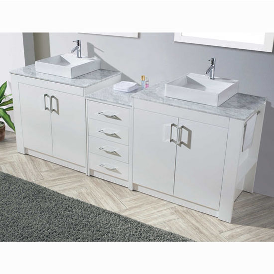 Tavian Collection 90 Double Bathroom Vanity Set In Gloss White Set Includes 2 Main Cabinets