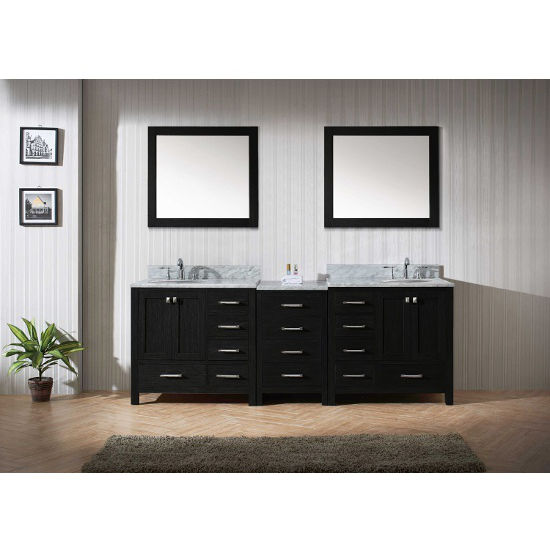 "Virtu USA Caroline Premium 92"" Double Bathroom Vanity Set"