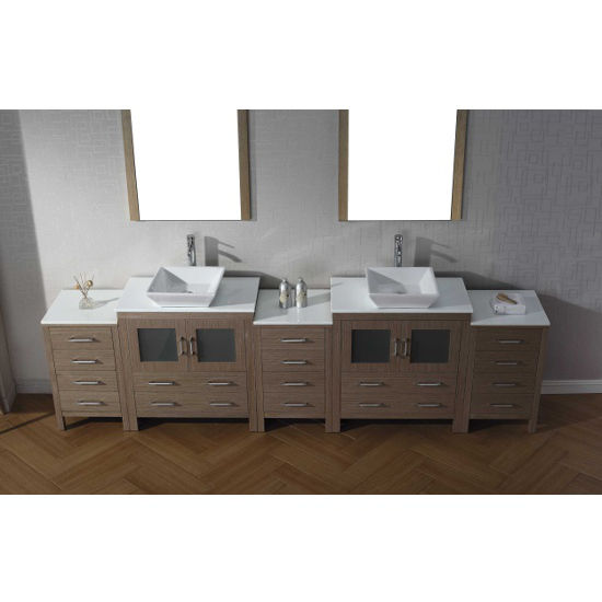 Dark Oak, Square Vessel Sink with Single, Double Mirror- Front Sink View