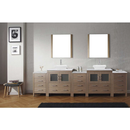 Dark Oak, Square Vessel Sink with Single, Double Mirror- Front View