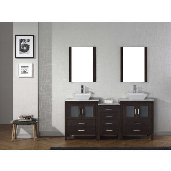 Espresso, Square Vessel Sink with Single, Double Mirror- Front View