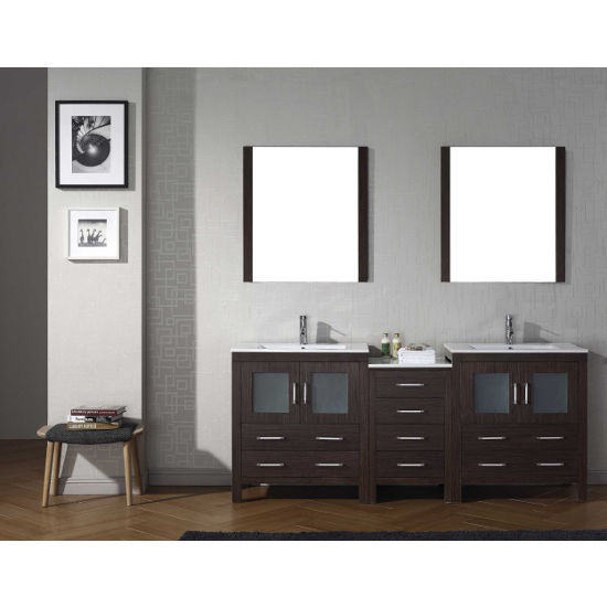 Espresso, Integrated Sink with Single, Double Mirror- Front View