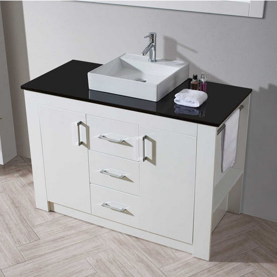 Tavian Collection 48 Freestanding Single Bathroom Vanity Set In Gloss White With Multiple