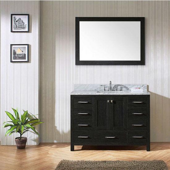 "Virtu USA Caroline Premium Collection 48"" Single Bathroom Vanity Set in Zebra Grey"