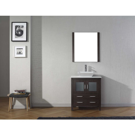 Espresso, Square Vessel Sink with Single, Single Mirror- Front View