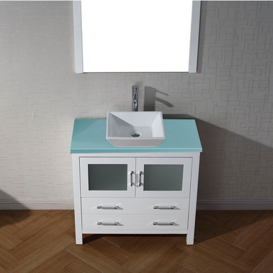 Dior 28 32 Or 36 Single Bathroom Vanity Set With Glass Countertop In Multiple Finishes Set