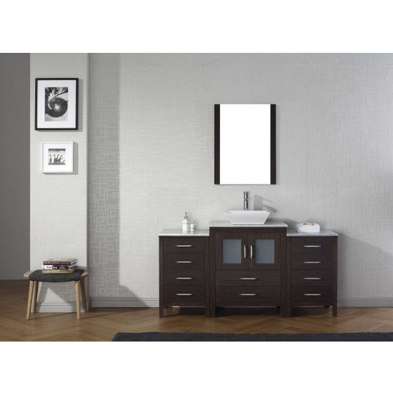 Espresso, Square Vessel Sink with Single, Single Mirror- Front View