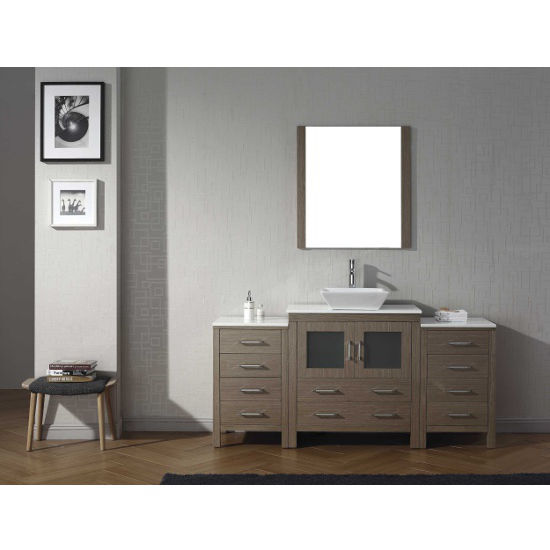 Dark Oak, Square Vessel Sink with Single, Single Mirror- Front View