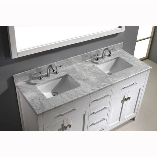 Caroline 60 39 39 Double Bathroom Vanity Set In Multiple Finishes With Italian Carrara Marble Or