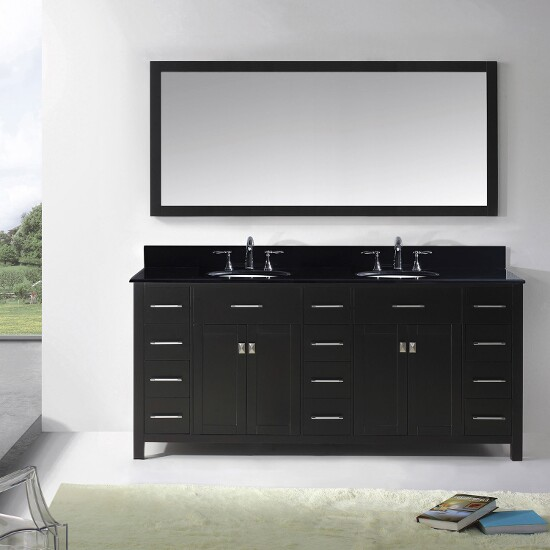 "Virtu USA Caroline Parkway 72"" Double Bathroom Vanity Cabinet Set"