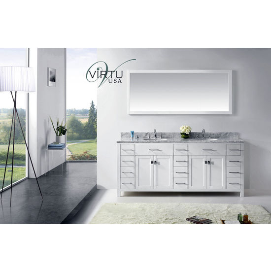 "Virtu USA 78"" Caroline Parkway Double Round or Square Sink Bathroom Vanity Set in White or Espresso with Italian Carrara White Marble Countertop"