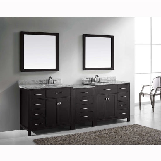 93 39 39 caroline parkway double sink bathroom vanity by virtu usa made with zero emissions solid Bathroom cabinets made in usa