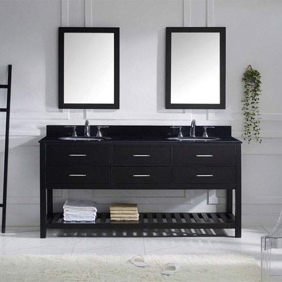 Espresso, Black Granite, Round Sink with Brushed Nickel Faucet, Double Mirror- Front View