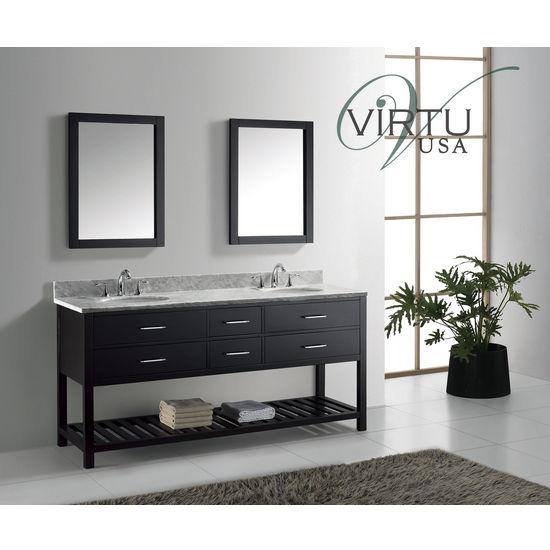 "Virtu USA 72"" Caroline Estate Double or Square Round Sink Bathroom Vanity Set in Espresso or White with Italian Carrara White Marble Countertop"