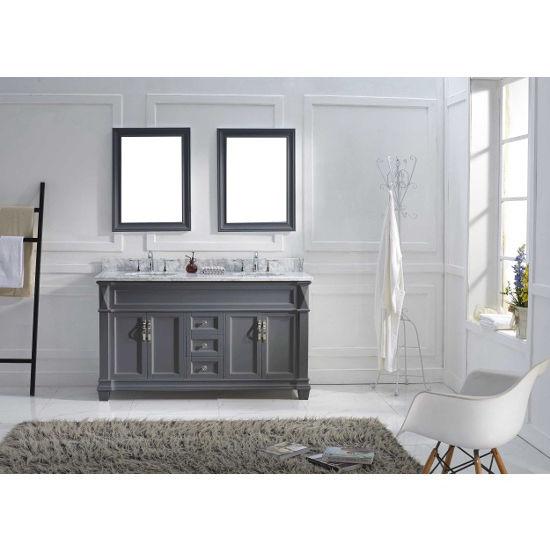 Grey, Round Undermount, Double Mirror- Front View
