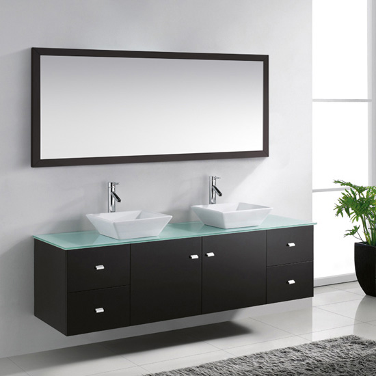 "Virtu USA Clarissa 72"" Wall Mounted Double Sink Bathroom Vanity Set"