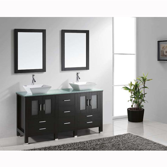 Espresso w/ Glass Top Vanity Set