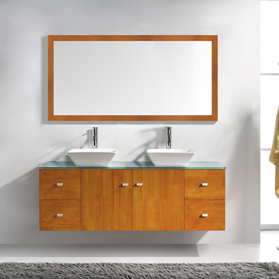 Honey Oak w/ Glass Top Vanity Set