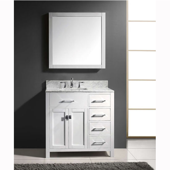virtu usa caroline parkway 36 single sink bathroom vanity set with right side drawers in. Black Bedroom Furniture Sets. Home Design Ideas