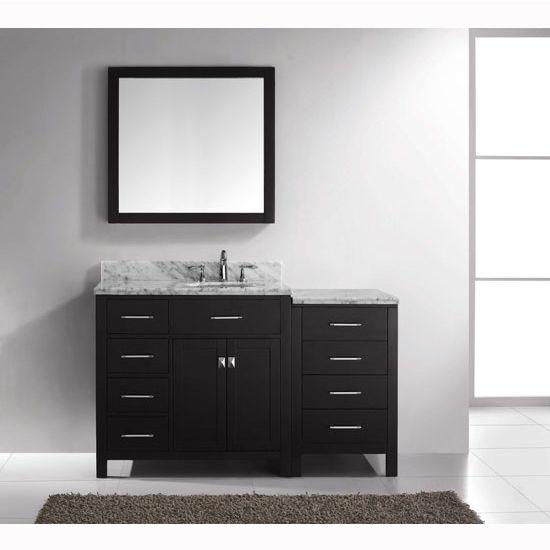 Virtu usa caroline parkway 36 single sink bathroom vanity for Black bathroom drawers