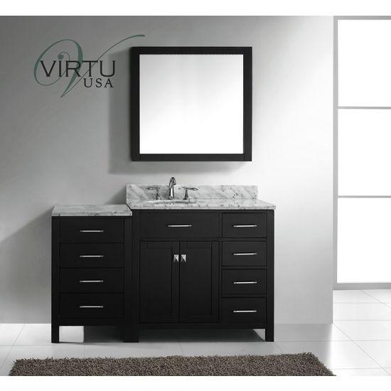 "Virtu USA 57"" Caroline Parkway Single Round or Square Sink Bathroom Vanity, Espresso or White, Right"