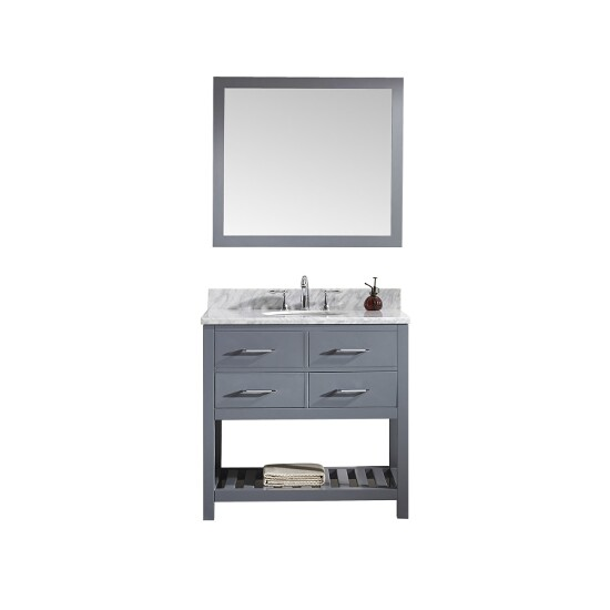 Grey w/ Round Sink Vanity Set