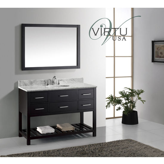 "Virtu USA 48"" Caroline Estate Single Round or Square Sink Bathroom Vanity Set in Espresso or White with Italian Carrara White Marble Countertop"