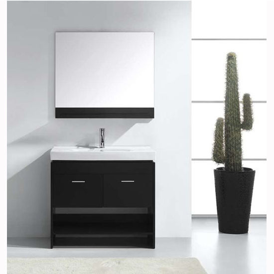 Espresso w/ Mirror Shelf Vanity Set