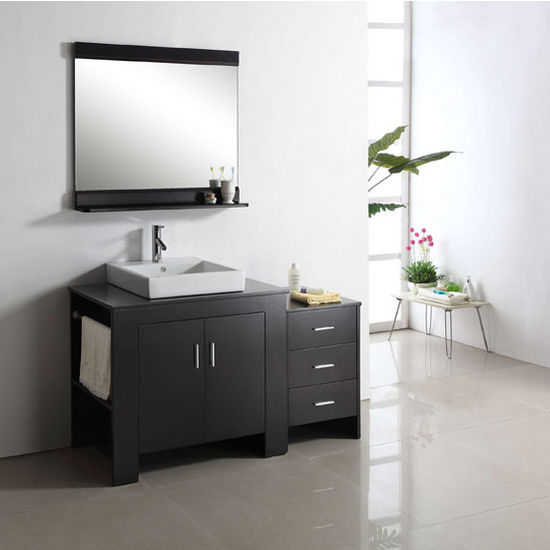 Espresso Left Drawers Vanity Set