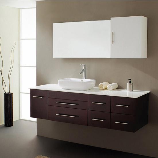 Virtu USA 59'' Justine Espresso Single Sink Bathroom Vanity Set