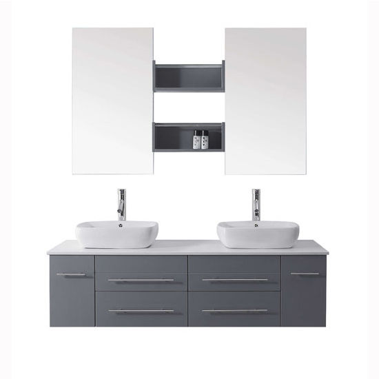 Bath Vanities Augustine Complete Wall Mounted Double Bath Vanity Set In Espresso White Or