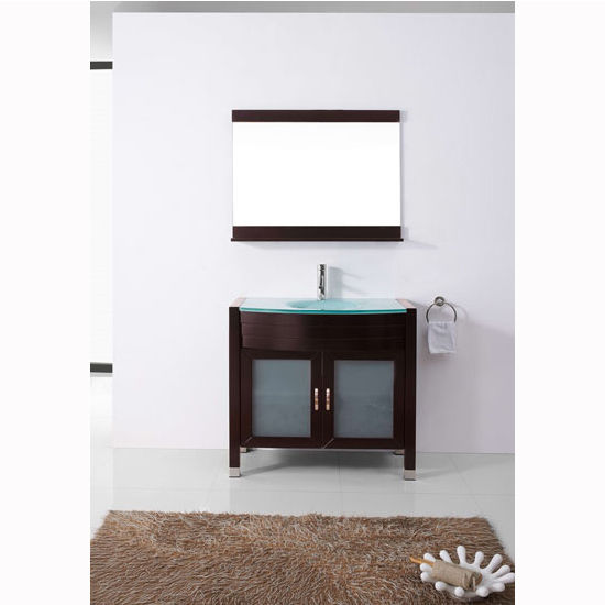 Espresso w/ Glass Top Bath Vanity Set