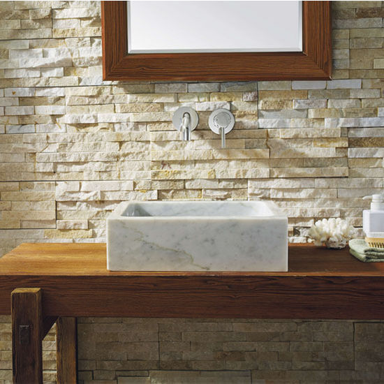 Natural Bianco Carrara Marble Stone Vessel Sink