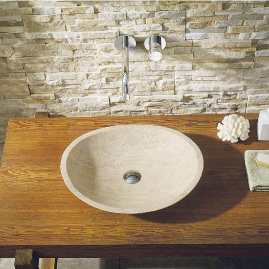 Rectangular Vessel Bathroom Sinks Luxury Polished Beige Travertine Platform Sink