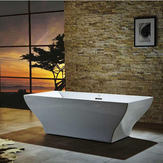 "Virtu USA Serenity 71"" Freestanding Soaking Bath Tub in White, 70-4/5"" W x 31-1/2"" D x 22-4/5"" H"
