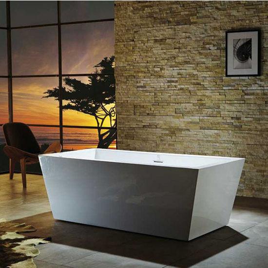 "Virtu USA Serenity 67"" Freestanding Soaking Bath Tub in White, 66-15/16"" W x 31-1/2"" D x 23-5/8"" H"