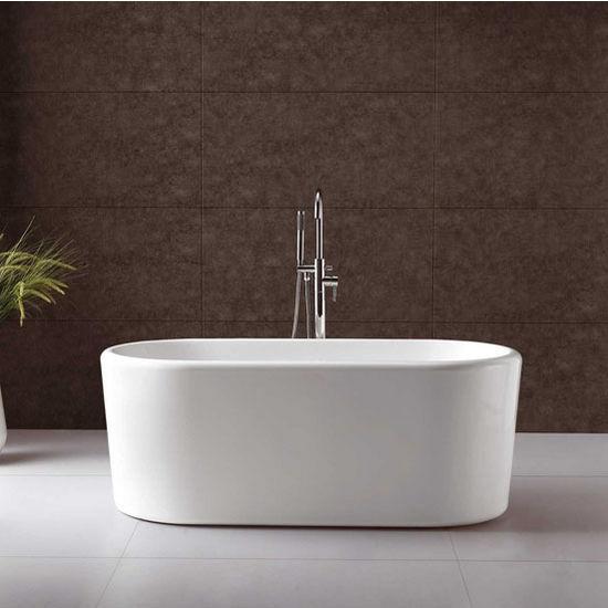 "Virtu USA Serenity 67"" Freestanding Soaking Bath Tub in White, 66-29/32"" W x 27-1/2"" D x 17-29/32"" H"