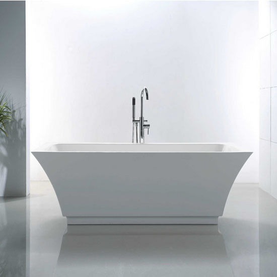 "Virtu USA Serenity 67"" Freestanding Soaking Bath Tub in White, 67"" W x 31-5/16"" D x 23-3/5"" H"
