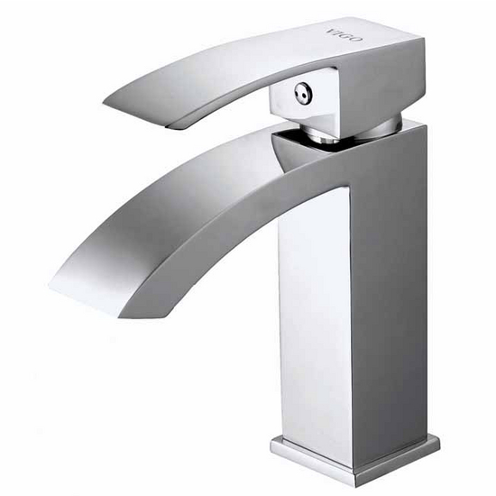 Vigo Satro Single Handle Chrome Finish Faucet, Thin Straight Handle