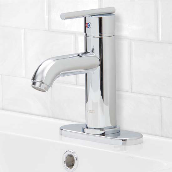 Vigo VIG-VG01038CHK1, Setai Single Handle Chrome Bathroom Faucet with Deck Plate