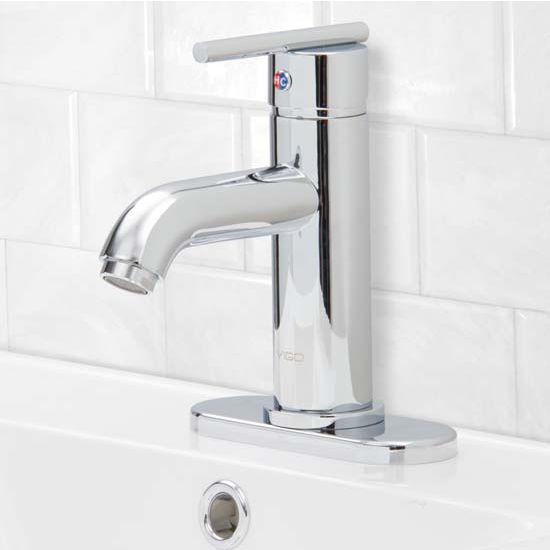 Vigo VIG-VG01038CHK1, Setai Single Handle Chrome Bathroom Faucet with Deck Plate