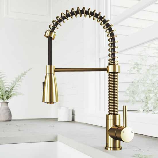 Vigo Matte Gold Faucet Lifestyle View