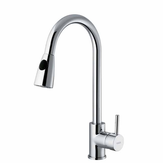 Vigo Chrome Curved Pull-Out Spray Kitchen Faucet