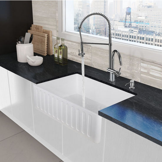 Chrome Spring Pull-Down Spray Kitchen Faucet