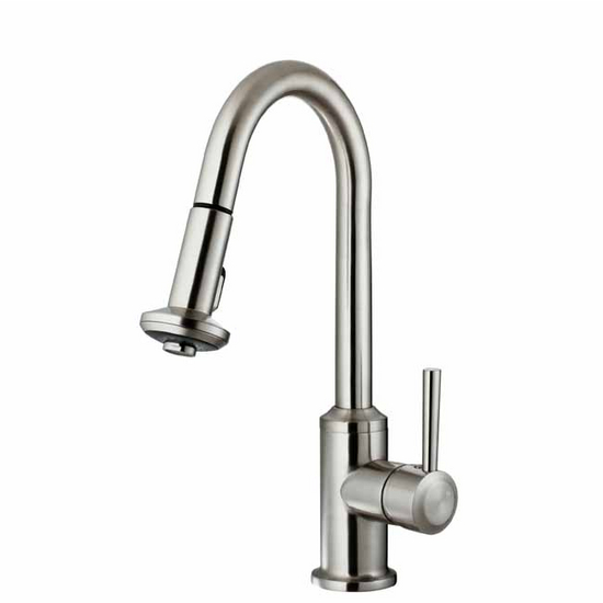 Vigo Stainless Steel Curved Pull-Out Spray Kitchen Faucet