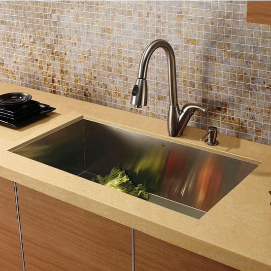 Stainless Steel Curved Wide Pull-Out Spray Kitchen Faucet