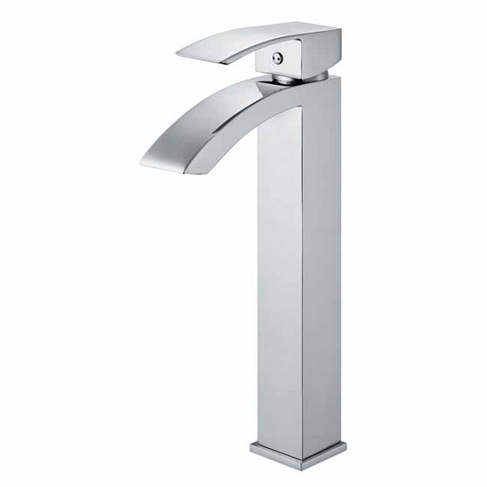 Vigo Chrome Finish Bathroom Vessel Faucet, Wide Straight Handle