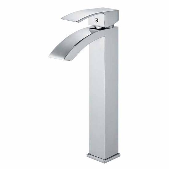 Vigo Chrome Finish Bathroom Vessel Faucet, Wide Straight Handle