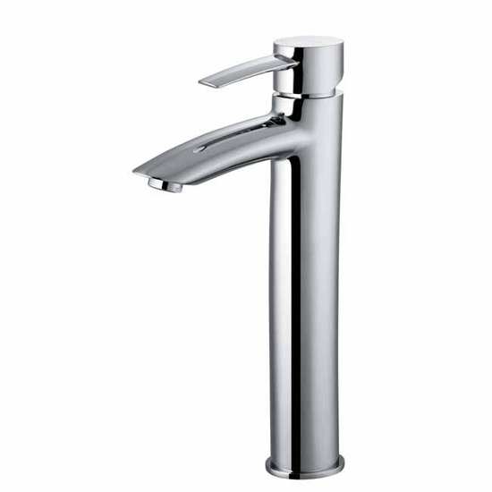 Vigo Chrome Finish Bathroom Vessel Faucet, Thin Straight Handle