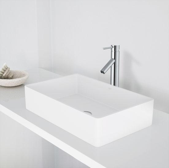 Magnolia Matte Stone Vessel Bathroom Sink Set With Multiple Faucet - Bathroom sink and faucet set